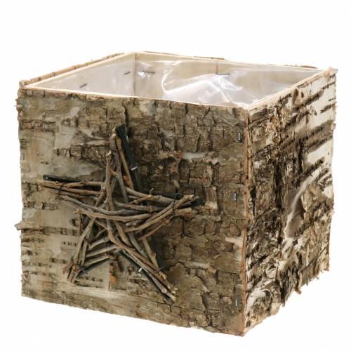 Pflanztopf Birkengefäß mit Stern H15,5cm
