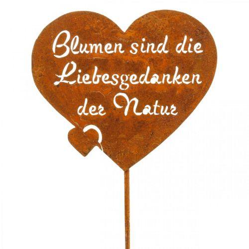 Blumenstecker Herz mit Spruch Rost Metall Gartendeko 10cm 6St