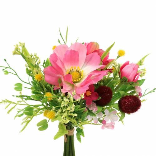 Dekostrauß Cosmea und Schneeball im Bund Künstlich Rosa Sortiert H18cm
