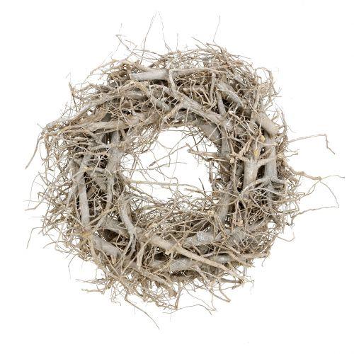 Shabby Landhaus !! Holzrinden Weiden-Kranz grau gewaschen Holzkranz