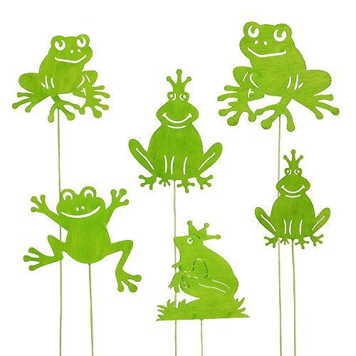 Deko-Stecker Frosch Grün 7cm - 10cm 12St