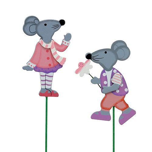 Deko-Stecker Maus mit Blume 8,5cm 14St