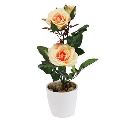 deko rose im topf lachs 23cm einkaufen in sterreich. Black Bedroom Furniture Sets. Home Design Ideas