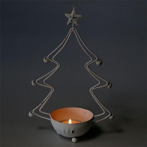 Deko-Baum mit Schale für Teelicht Weiß 25cm 2St