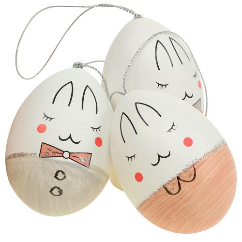 Deko-Eier mit Gesicht Weiß, Rosa, Grau 7cm 6St