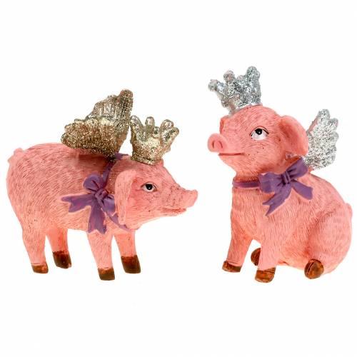 Dekofigur Schwein mit Krone 9cm 2St