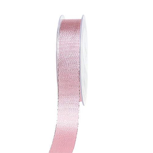 Dekoband Rosa mit Glimmer 25mm 20m