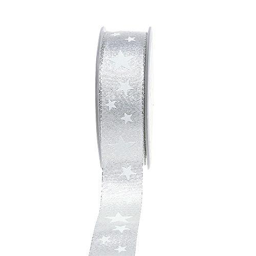 Dekoband Silber mit Sternmuster 25mm 20m