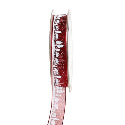 Dekoband Wintermotiv Bordeaux-Weiß 15mm 20m