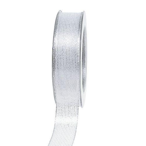 Dekoband mit Lurexstreifen Silber 25mm 20m