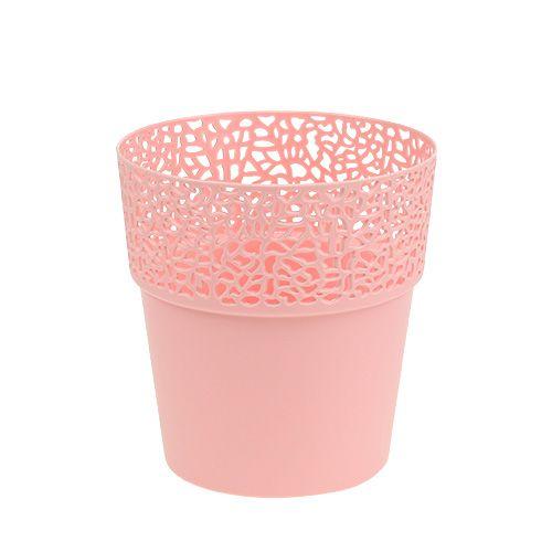 Dekotopf Plastik Rosa Ø13cm H13,5cm 1St