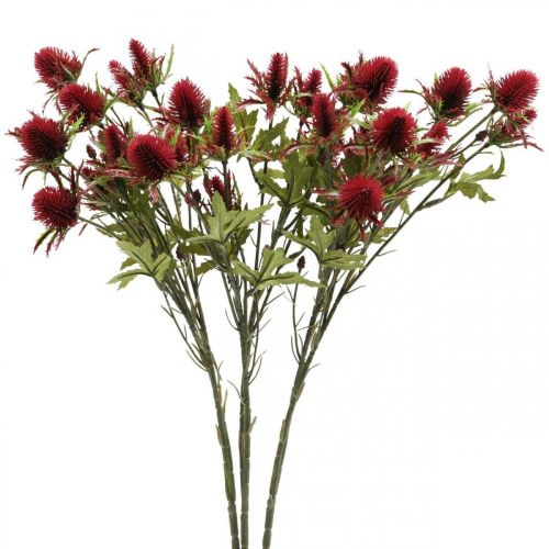 Distel Künstliche Blume Rot Burgund 10 Blütenköpfe 68cm 3St