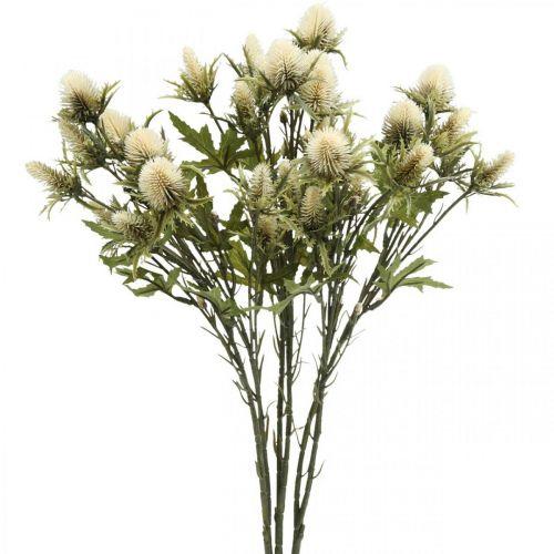 Distel künstlich Deko-Zweig Creme 10 Blütenköpfe 68cm 3St