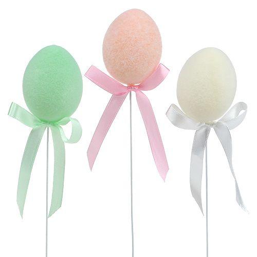 Ei als Stecker 5,5cm beflockt Pastell 12St