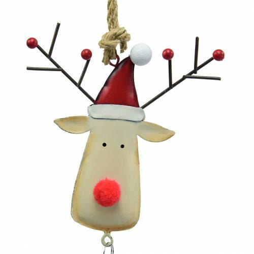 Weihnachtsanhänger Elchkopf mit Glocke 11,5cm Rot, Beige 3St