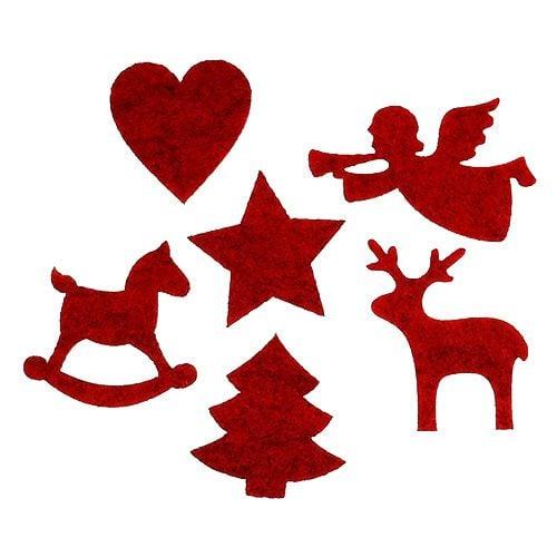 Knöpfe Weihnachtsmotive.Filzdeko Weihnachtsmotive Rot 3 5 6cm 144st