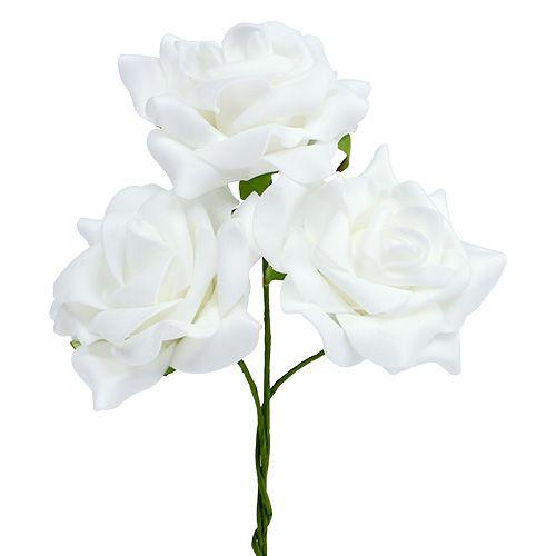Foam-Rose Ø 7,5cm  Weiß 18St