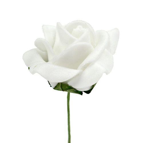 Foam Rose Ø 3,5cm weiß 48St