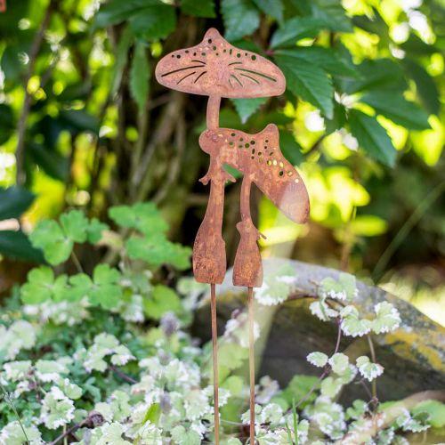 Gartenstecker Pilzpaar Edelrost H49,5cm