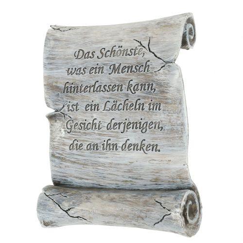 Gedenkstein Schriftrolle Grau 12,5cm x 16,5cm