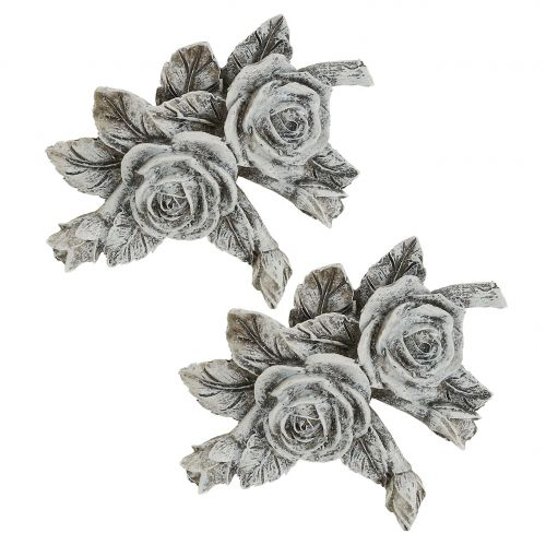 Rose für Grabschmuck Polyresin 10cm x 8cm 6St
