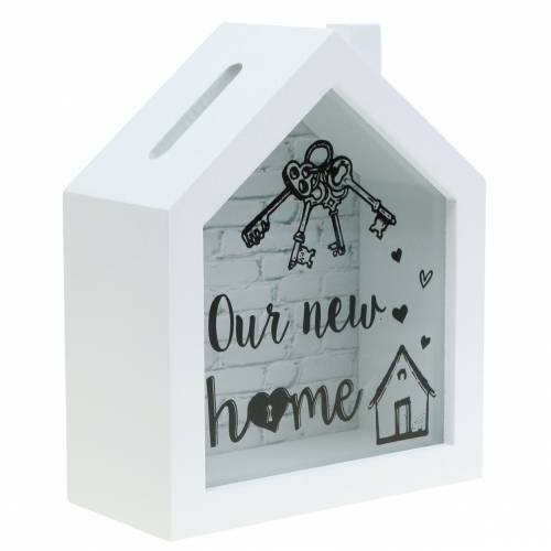 """Sparbox """"Our New Home"""" Holz Glas Weiß 15x7cm H18cm"""
