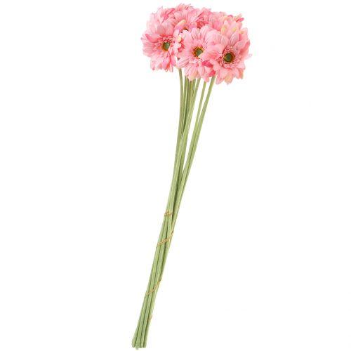 Gerbera Rosa künstlich 47cm 12St