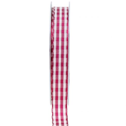 Geschenkband Karo Violett 15mm 20m