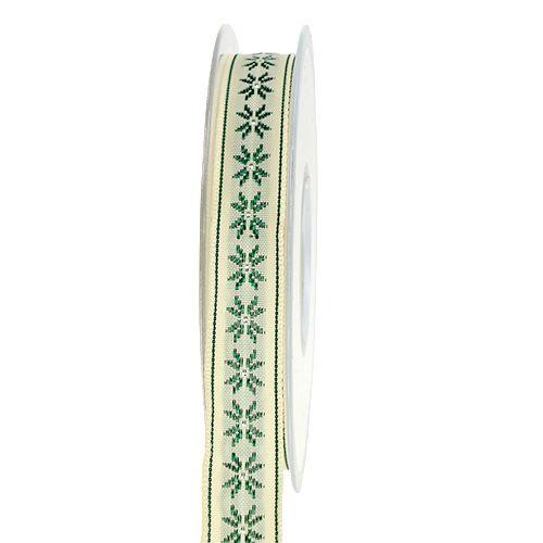 Geschenkband mit Muster creme 15mm 20m