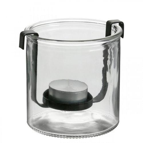 Windlicht Glas mit Teelichthalter Schwarz Metall Ø9×H10cm