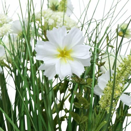 Deko Gras mit Cosmea-Blüten in Schale H45cm