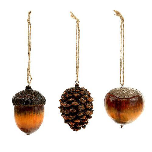 Herbstdeko Hänger Eichel, Nuss, Zapfen 6cm 3St einkaufen