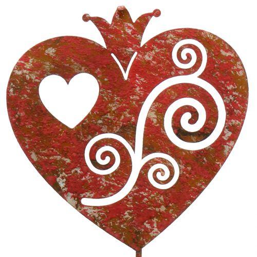 Gartenstecker Herz Rot 45,5cm