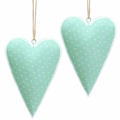 Herzhänger Metall Grün, Weiß gepunktet H11cm 6St