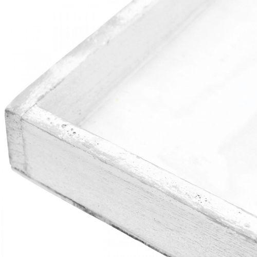 Deko Tablett Weiß eckig Holztablett Shabby Chic 24,5×24,5cm