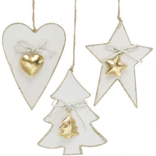 Weihnachtsanhänger Herz / Tanne /Stern, Holzdeko, Baumschmuck mit Glöckchen Weiß, Golden H14,5/14/15,5cm 3St
