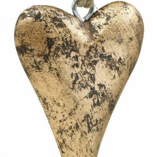 Holzherz Gold-Effekt, Valentinstag, Hochzeitsdeko 10×7cm