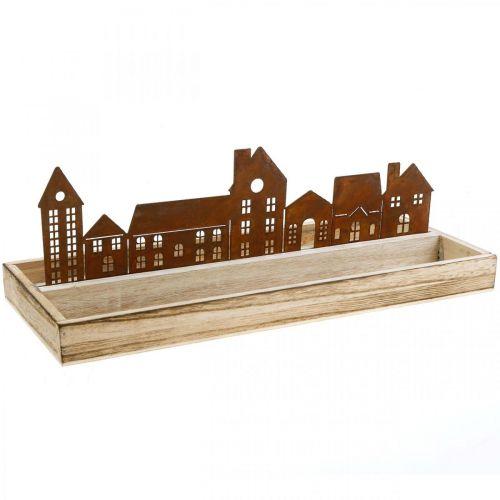 Deko Tablett Holz rechteckig mit Edelrost Häuser 35×15cm