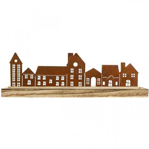 Deko Holztablett rechteckig mit Edelrost Häuser 50×17cm