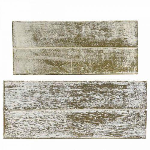 Pflanzkasten Holz Vintage Creme, Braun 32×16/28×13cm 2er-Set
