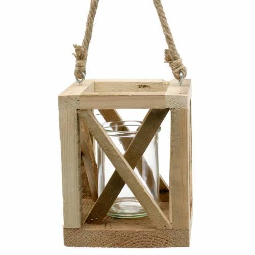Deko Holzlaterne mit Glas Natur 14x14cm H17cm