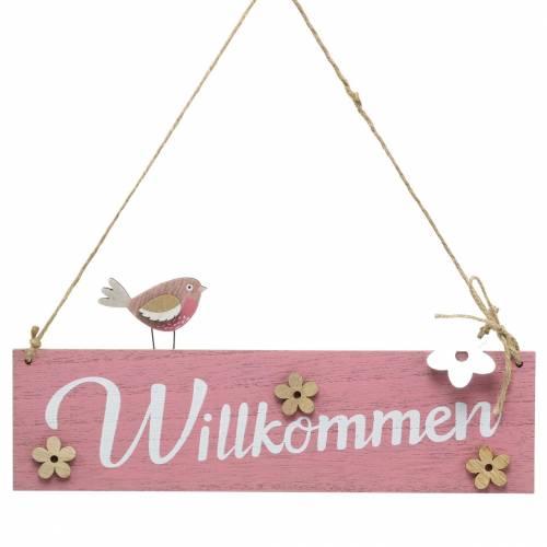 """Holzschild zum Hängen """"Willkommen"""" Rosa 29x12cm 2St"""