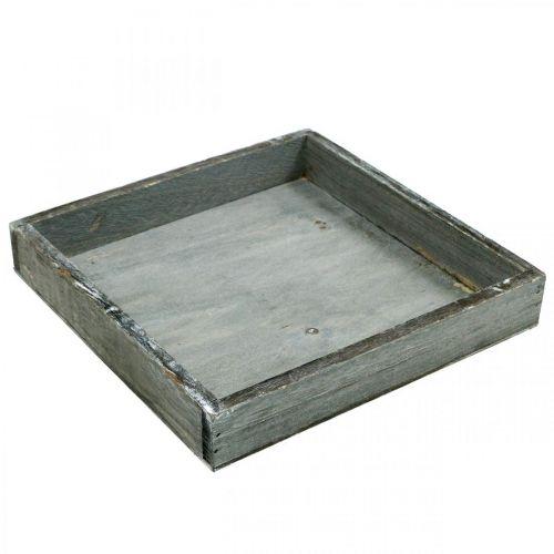 Tablett Holz eckig Grau, Weiß gewaschen Deko-Tablett 19×19cm