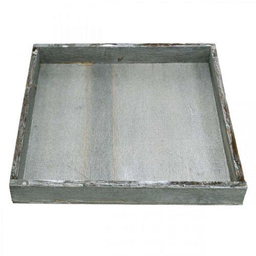 Tablett Holz eckig Grau, Weiß Tischdeko Shabby Chic 24,5x24,5cm