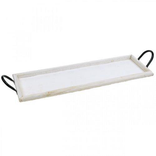 Tablett zum Dekorieren, Pflanztablett mit Griffen, Kerzentablett aus Holz Weiß gewaschen L50cm