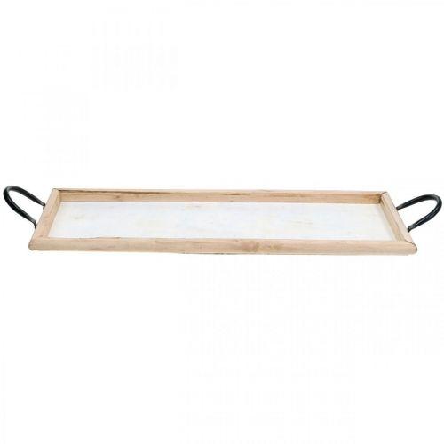 Holztablett mit Metallgriffen, Pflanzschale, Deko-Tablett Naturfarben L50cm