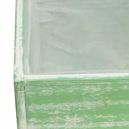 Pflanzgefäß Holz Hellgrün Weiß gewaschen 10×10cm/14×14cm 2er-Set