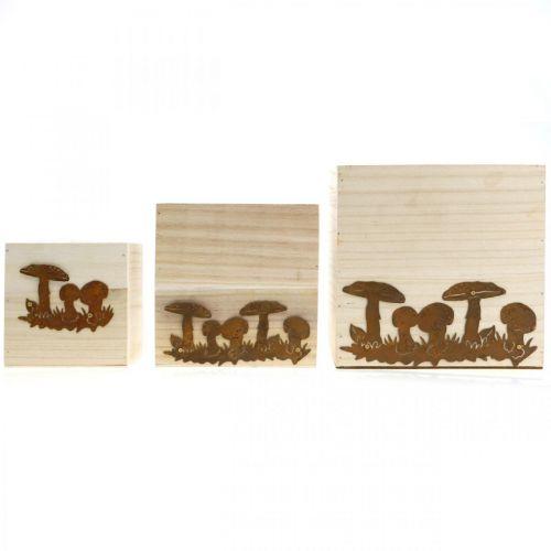 Pflanzwürfel, Blumenkiste, Herbstdeko mit Edelrost 20/16/12cm 3er-Set