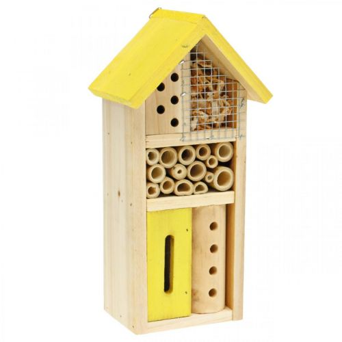 Insektenhotel Gelb Holz Insektenhaus Garten Nistkasten H26cm