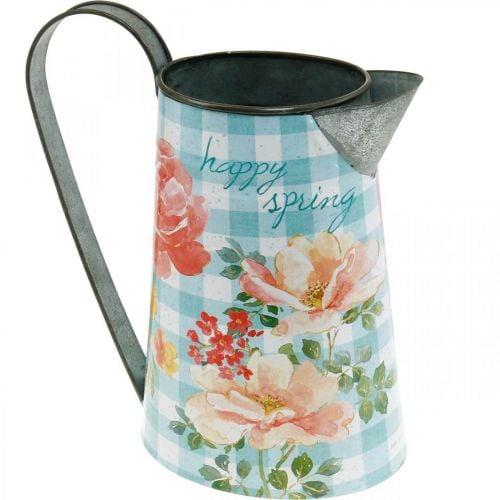 Blumenvase Deko-Kanne Metall Vintage Gartendeko Pflanzkübel H23cm